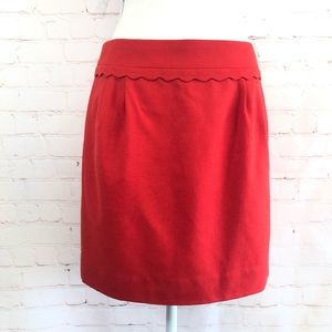 🆕J. Crew Red Wool Lined with Scallop Detail